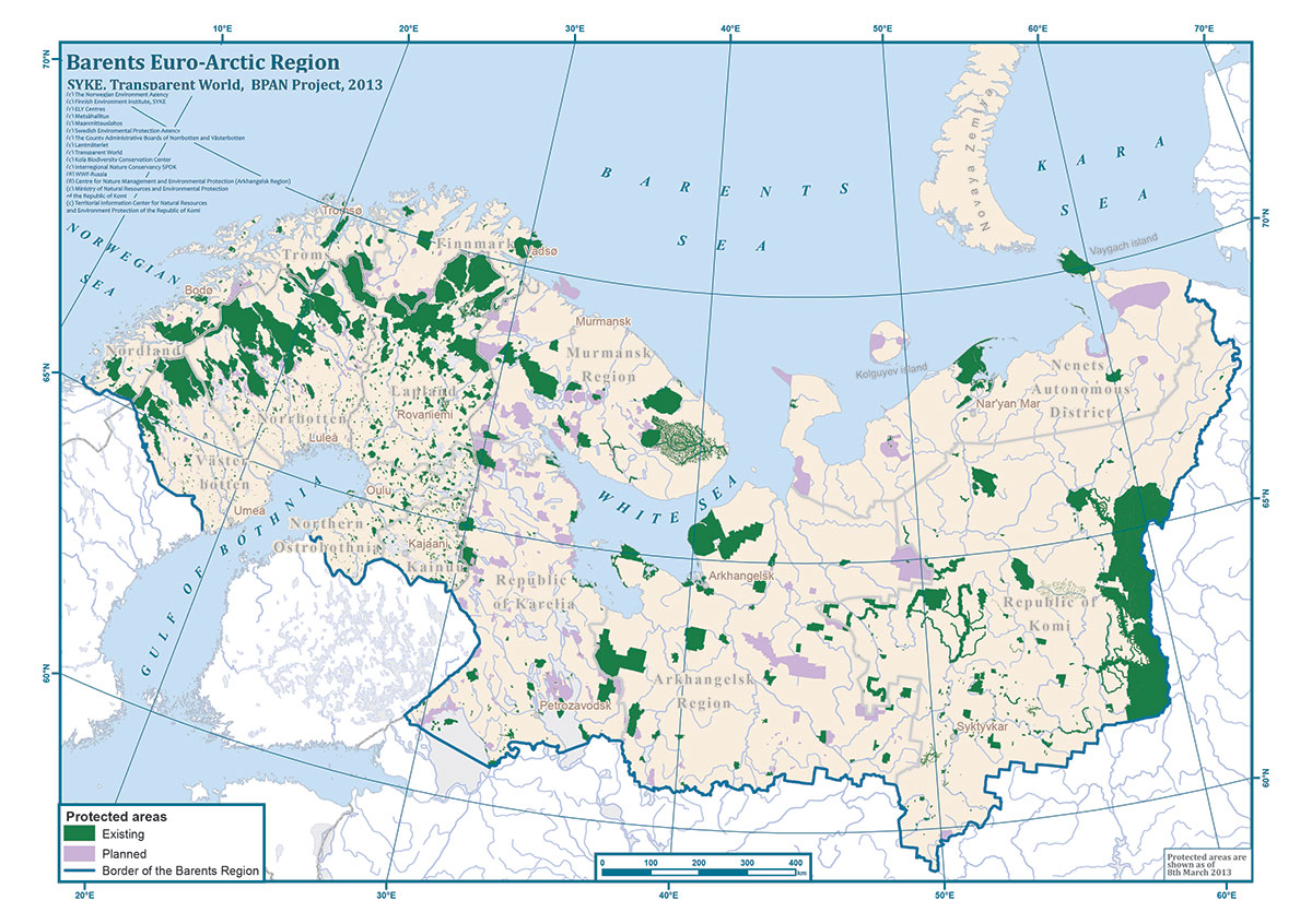 Protected areas in the Barents Region. Source: http://www.bpan.fi/en/gallery/maps/