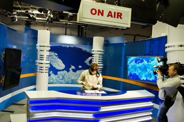 TV Murman news studio, Murmansk. Photo: Arto Vitikka