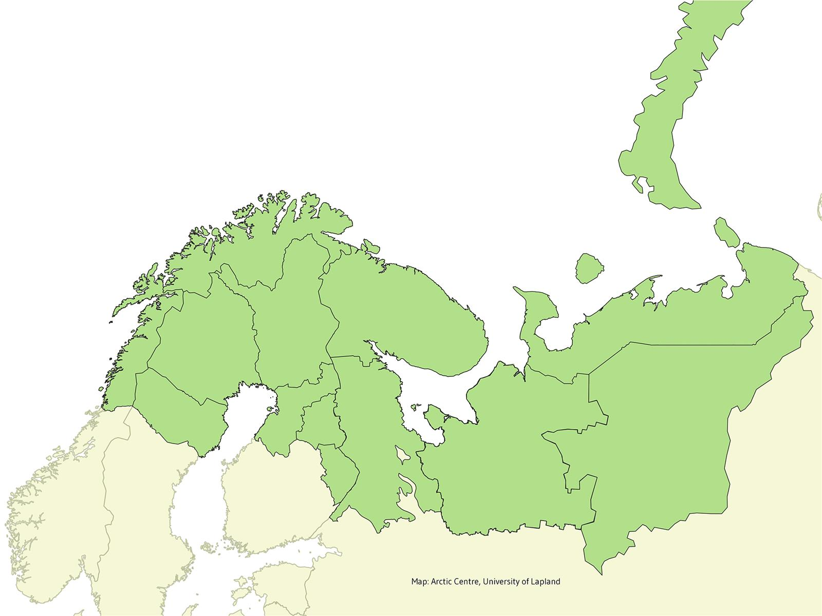 Map of the Barents Euro-Arctic Region